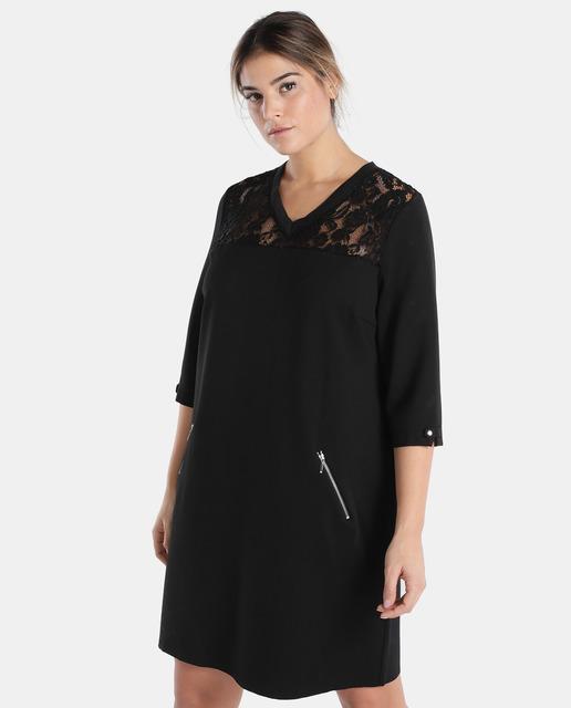Vestidos tallas grandes - vestido negro con encaje