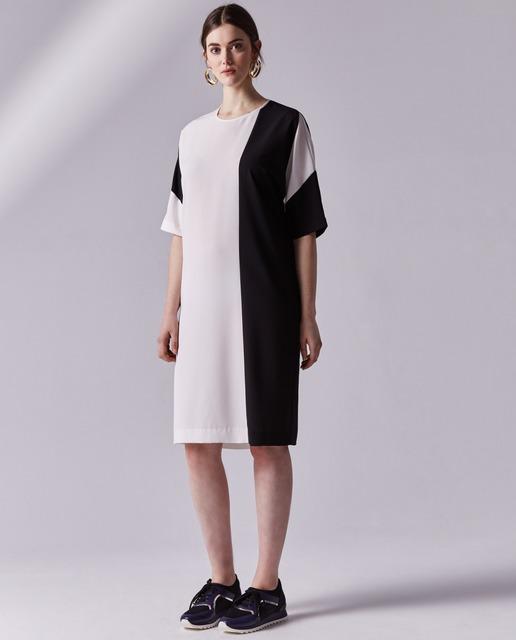 Vestidos tallas grandes - vestido recto blanco y negro