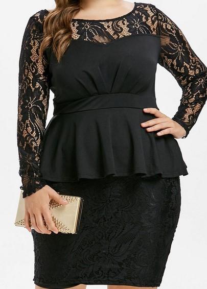 Moda en tallas grandes 2013 las gorditas también pueden usar peplum - peplum negro tallas grandes