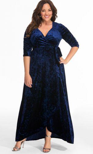 Descubre la moda talla grande de Kiyonna elegante y hermosa - vestido terciopelo largo