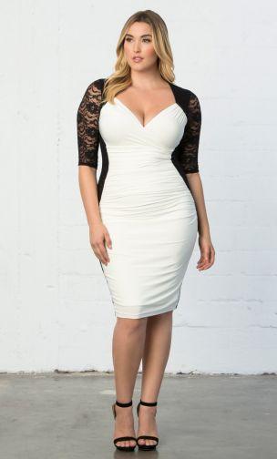 Descubre la moda talla grande de Kiyonna elegante y hermosa - vestido blanco con encaje
