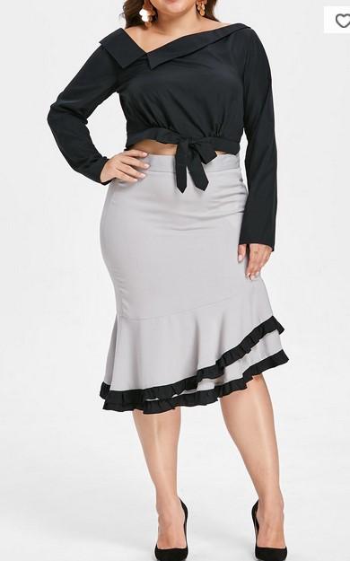 Trucos de moda para gorditas cómo usar falda de cintura alta - falda con volantes