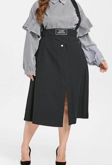 Trucos de moda para gorditas cómo usar falda de cintura alta - falda con peto