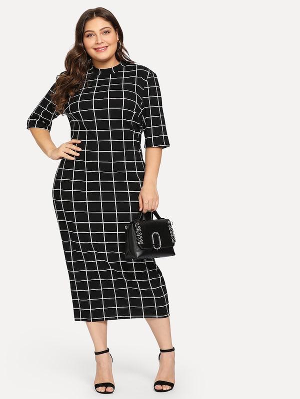 El secreto de los vestidos negros para mujeres con kilitos de más - vestido talla grande rayas