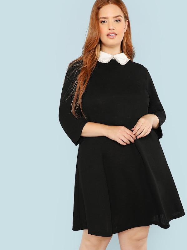 El secreto de los vestidos negros para mujeres con kilitos de más - vestido negro tallas grandes