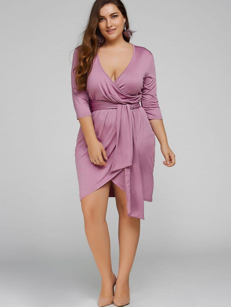 vestido wrap lila tallas grandes