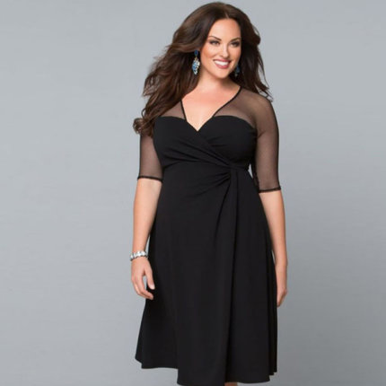 Vestido wrap negro estilo formal