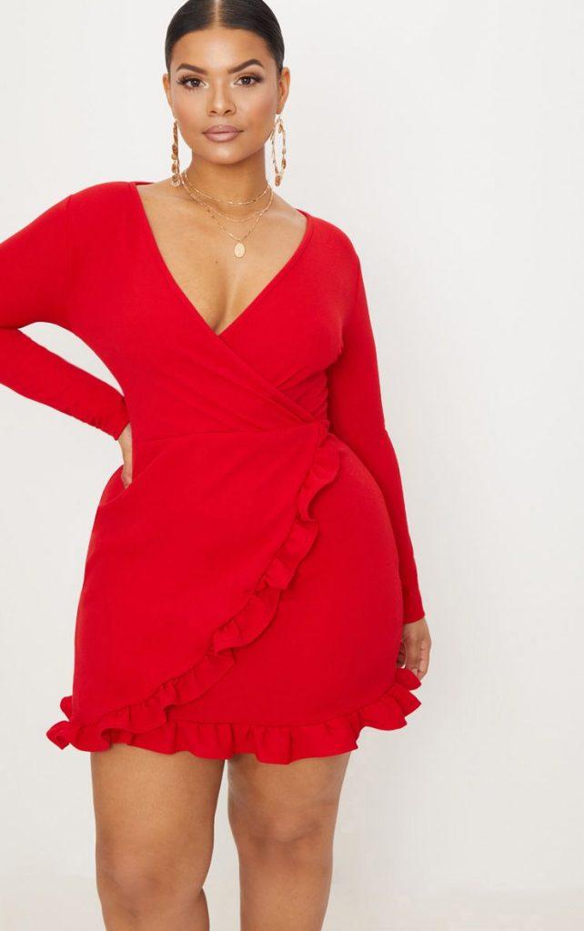 vestido wrap rojo talla grande