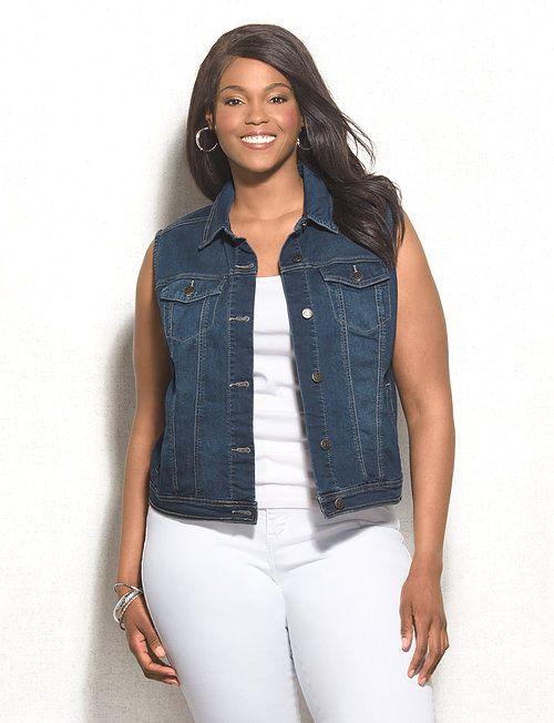 Chaleco jean oscuro talla grande