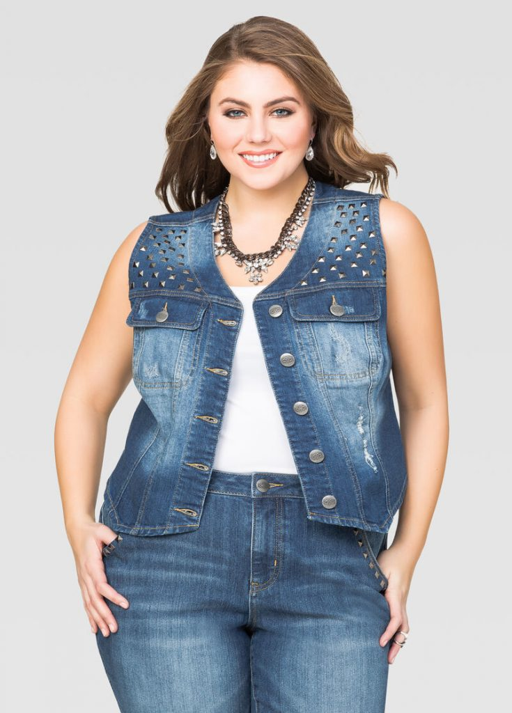 Combinar chaleco jean talla grande