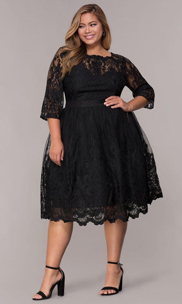 Vestidos para fiestas en tallas grandes elegancia en el negro