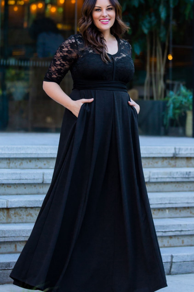vestido noche negro talla plus