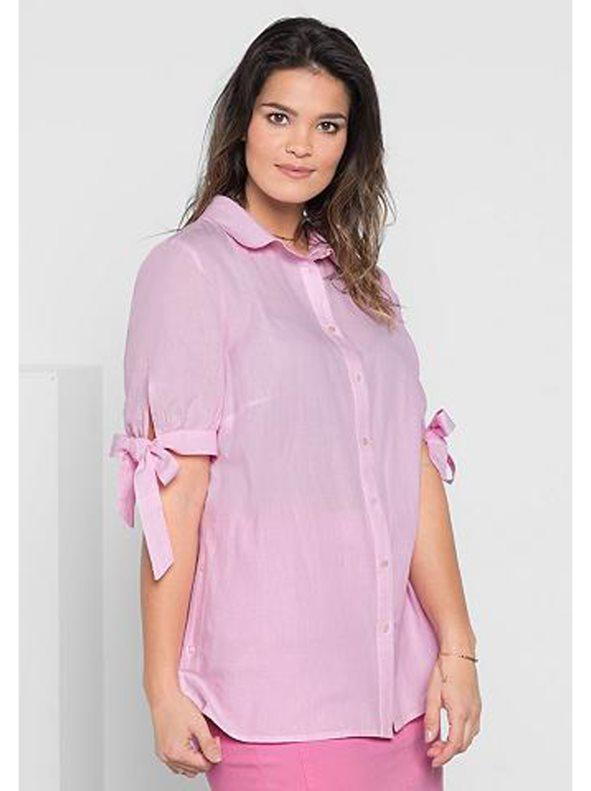 camisa mujer rosa talla plus