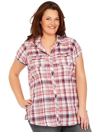 camisa cuadro mujer plus